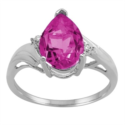 Pear Shaped Pink Topaz and Diamond Ring in 10K Gold