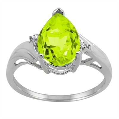 Pear Shaped Peridot and Diamond Ring in 10K Gold