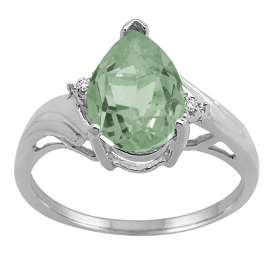 Pear Shaped Green Amethyst and Diamond Ring in 10K Gold