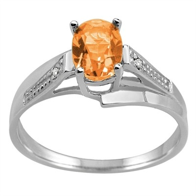 Oval Citrine and Diamond Wave Ring in 10K Gold