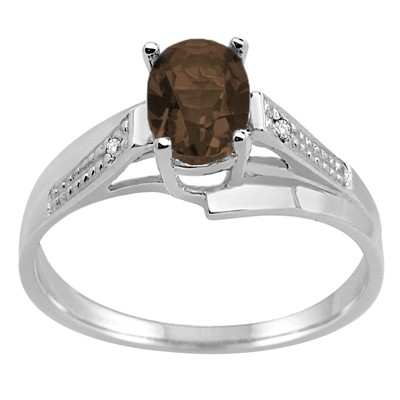 Oval Smokey Quartz and Diamond Wave Ring in 10K Gold