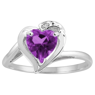Heart Shaped Amethyst and Diamond Ring in 10K Gold