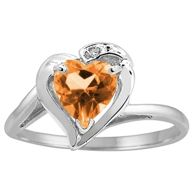 Heart Shaped Citrine and Diamond Ring in 10K Gold