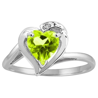 Heart Shaped Peridot and Diamond Ring in 10K Gold