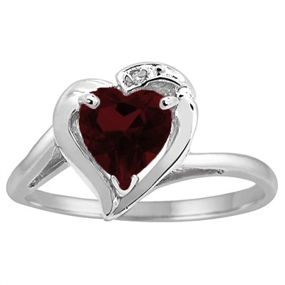 Heart Shaped Garnet and Diamond Ring in 10K Gold
