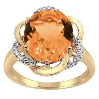 Citrine and Diamond Flower Ring in 10K Gold