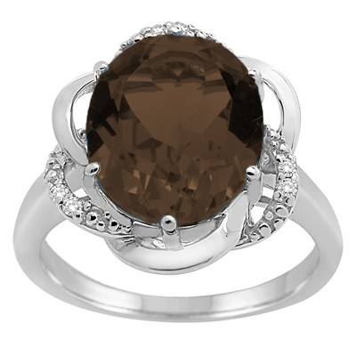 Smokey Quartz and Diamond Flower Ring in 10K Gold