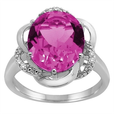 Pink Topaz and Diamond Flower Ring in 10K Gold