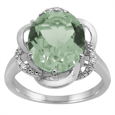 Green Amethyst and Diamond Flower Ring in 10K Gold