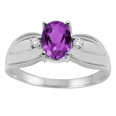Oval Amethyst and Diamond Ring in 10K Gold