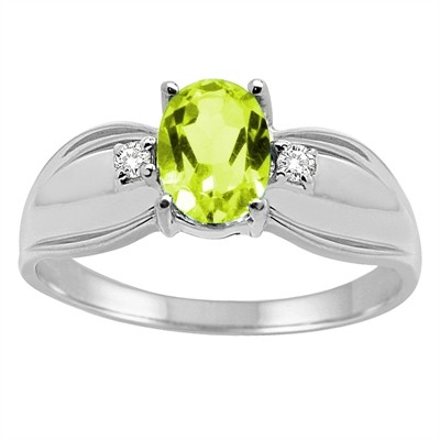 Oval Peridot and Diamond Ring in 10K Gold