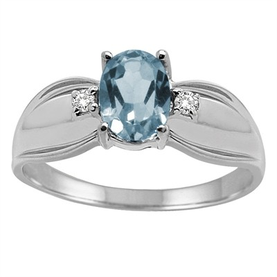 Oval Aquamarine and Diamond Ring in 10K Gold