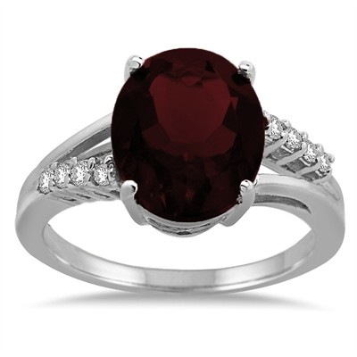 Oval Shaped Garnet and Diamond Ring in 10K Gold