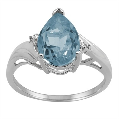 Pear Shaped Aquamarine and Diamond Ring in 10K Gold