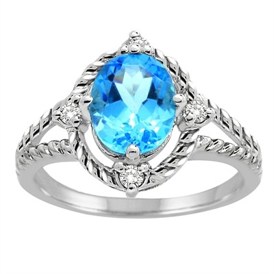 Blue Topaz and Diamond Ring in 10K Gold