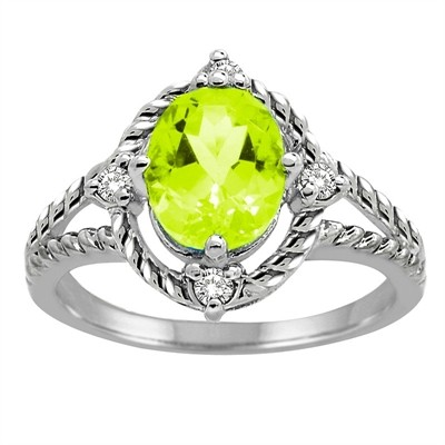 Peridot and Diamond Ring in 10K Gold