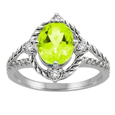 Peridot and Diamond Ring in 10K Gold