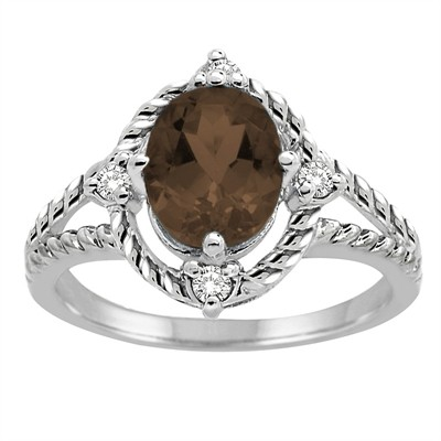 Smokey Quartz and Diamond Ring in 10K Gold