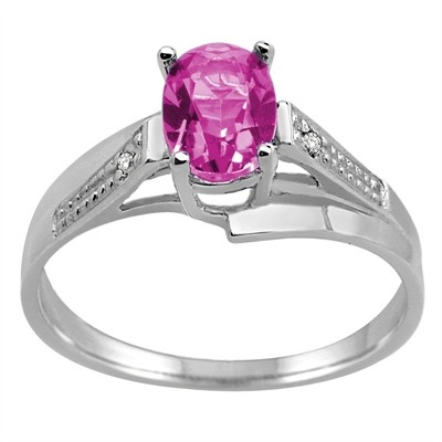 Oval Pink Topaz and Diamond Wave Ring in 10K Gold