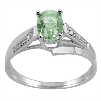 Oval Green Amethyst and Diamond Wave Ring in 10K Gold