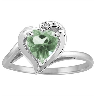 Heart Shaped Green Amethyst and Diamond Ring in 10K Gold
