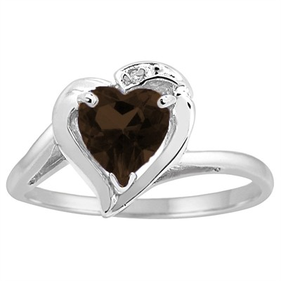 Heart Shaped Smokey Quartz and Diamond Ring in 10K Gold