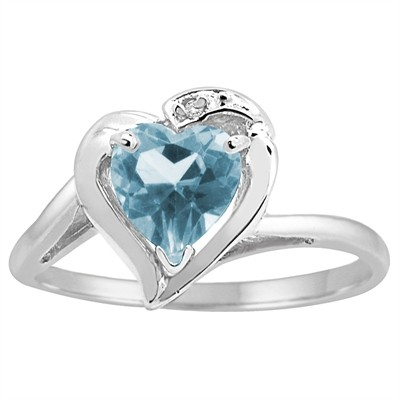 Heart Shaped Aquamarine and Diamond Ring in 10K Gold