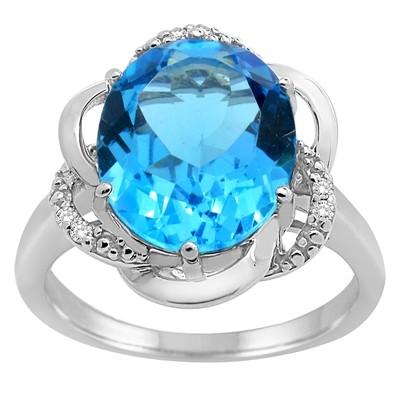 Blue Topaz and Diamond Flower Ring in 10K Gold