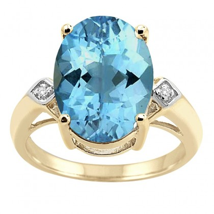 14x10 MM Blue Topaz and Diamond Ring in 10K Gold