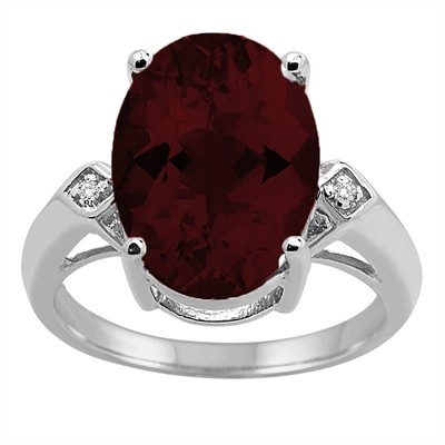 14x10 MM Garnet and Diamond Ring in 10K Gold