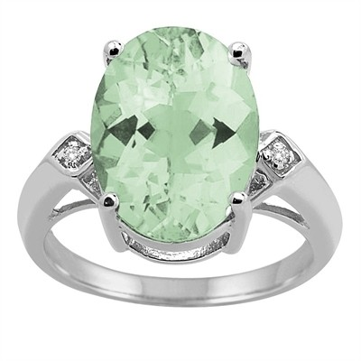 14x10 MM Green Amethyst and Diamond Ring in 10K Gold