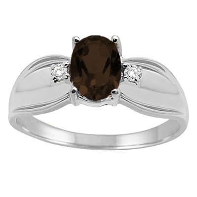 Oval Smokey Quartzand Diamond Ring in 10K Gold