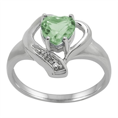 Green Amethyst and Diamond Accent Heart Ring in 10K Gold
