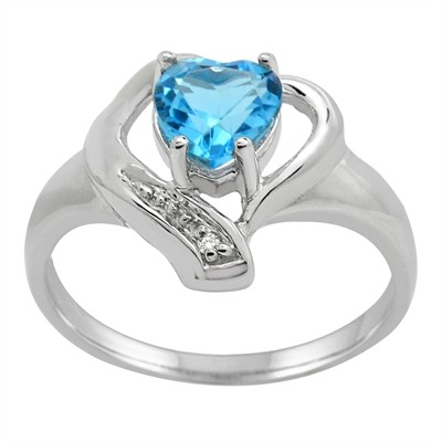 Blue Topaz and Diamond Accent Heart Ring in 10K Gold