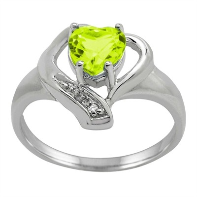 Peridot and Diamond Accent Heart Ring in 10K Gold