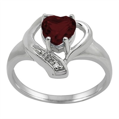 Garnet and Diamond Accent Heart Ring in 10K Gold