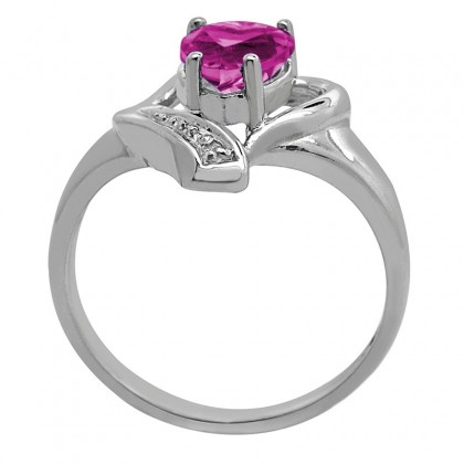 Pink Topaz and Diamond Accent Heart Ring in 10K Gold