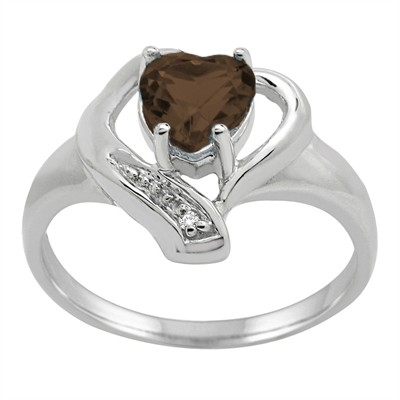 Smokey Quartz and Diamond Accent Heart Ring in 10K Gold