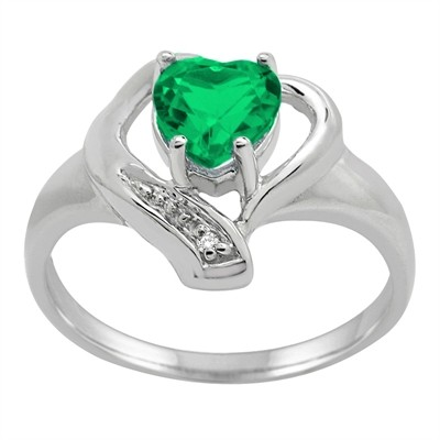 Lab Created Emerald and Diamond Accent Heart Ring in 10K Gold