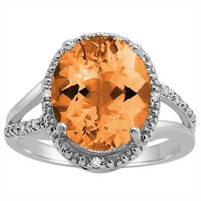 Oval Shaped Citrine and Diamond Ring in 10K Gold