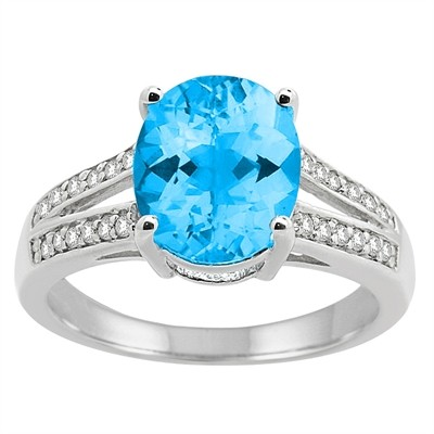 Oval Blue Topaz and Diamond Ring in 10K Gold