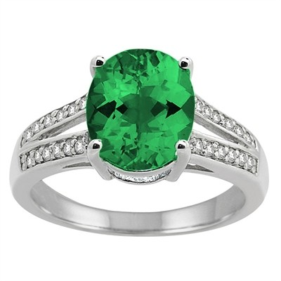 Oval Lab Created Emerald and Diamond Ring in 10K Gold