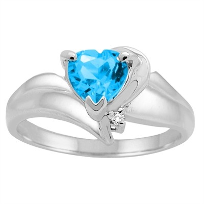 Heart Shaped Blue Topaz and Diamond Ring in 10K Gold