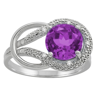 Amethyst and Diamond Love Knot Ring in 10K Gold