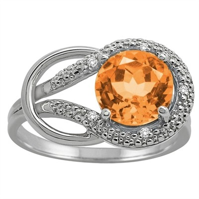 Citrine and Diamond Love Knot Ring in 10K Gold