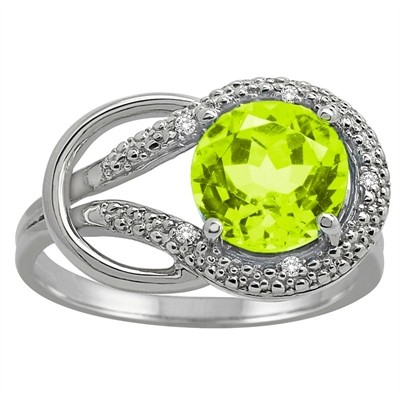 Peridot and Diamond Love Knot Ring in 10K Gold
