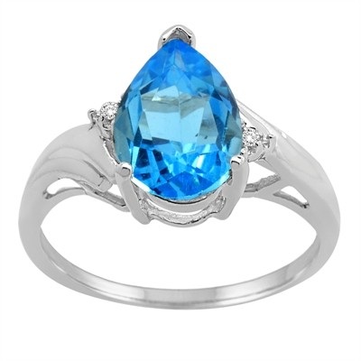 Pear Shaped Blue Topaz and Diamond Ring in 10K Gold