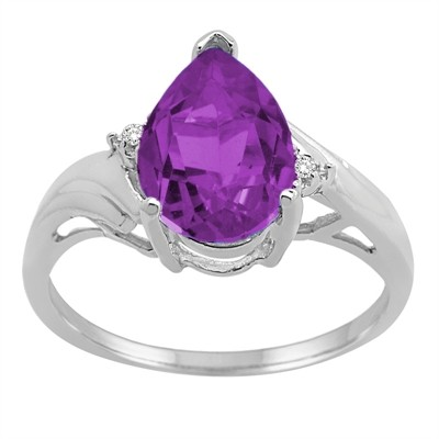 Pear Shaped Amethyst and Diamond Ring in 10K Gold