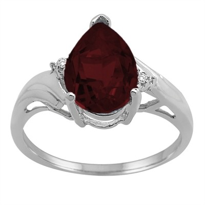 Pear Shaped Garnet and Diamond Ring in 10K Gold