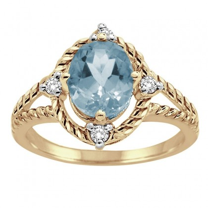 Aquamarine and Diamond Ring in 10K Gold